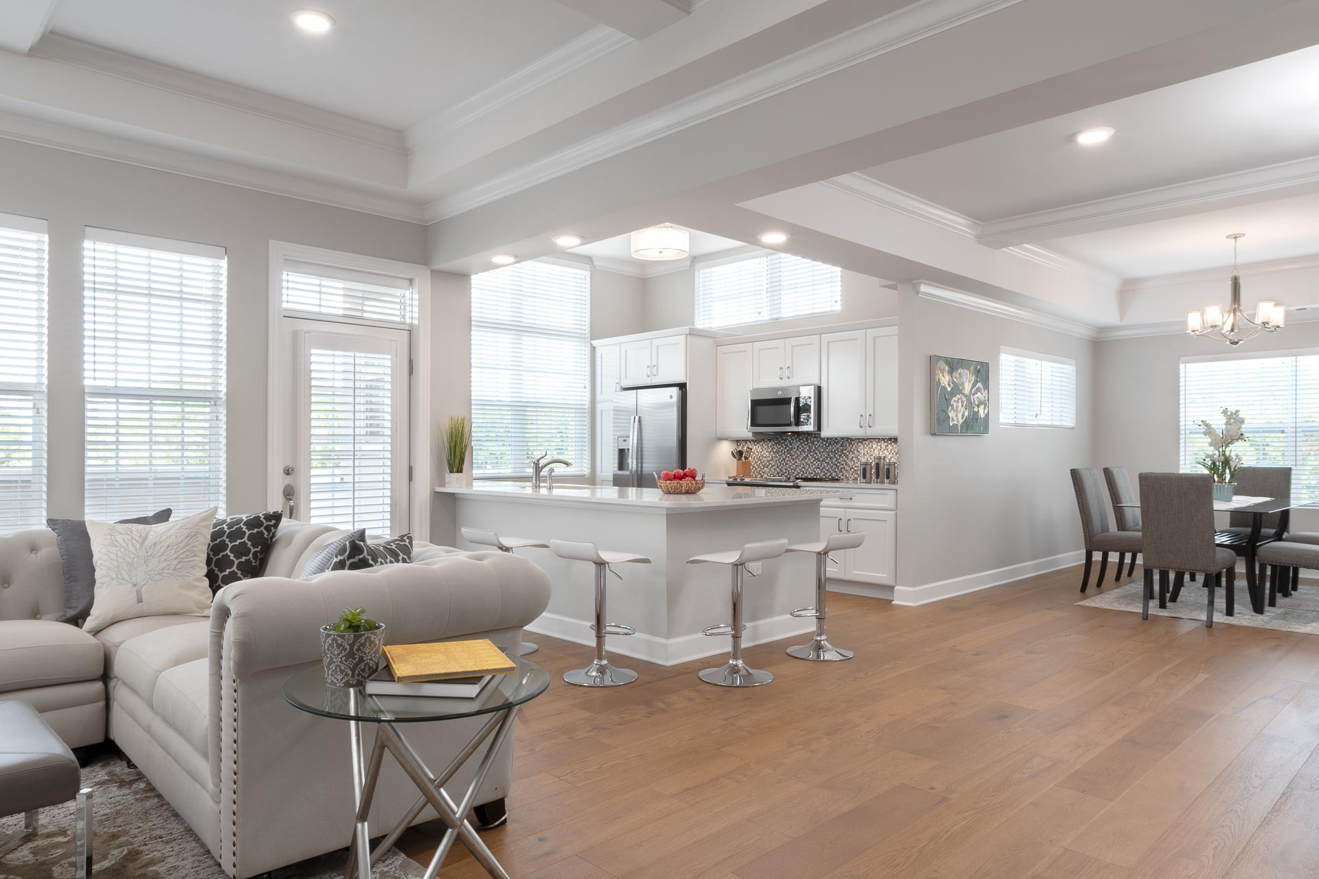 Wyndamere Senior Living - OPen concept kitchen, living room, and dining room