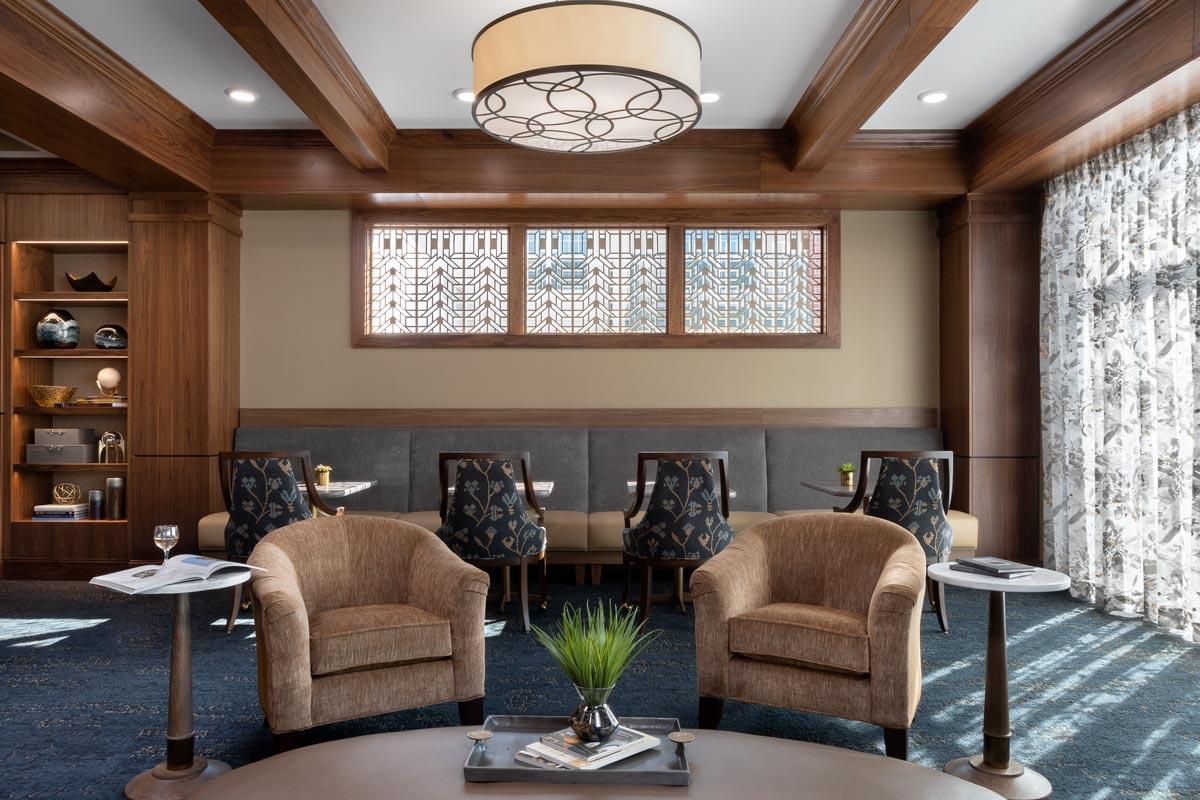 Wyndamere Senior Living Lounge with detailed windows